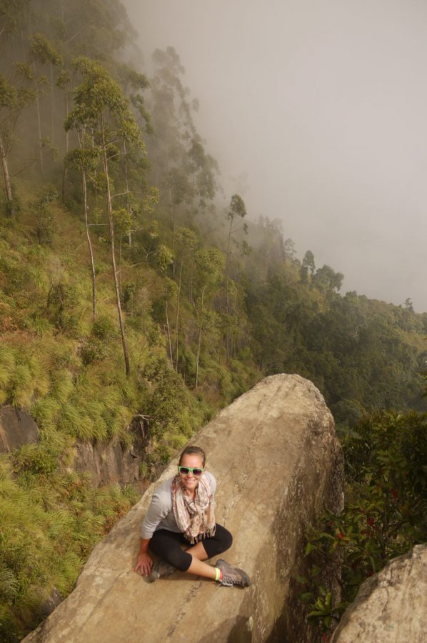 Sitting on the 'Dolphin's Nose' after a morning hike, just as the mist is beginning to creep in. Vattakanal