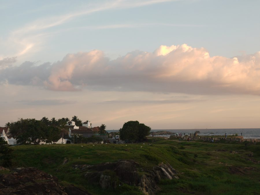 Looking across the grassy mounds inside the walls of Galle Fort.
