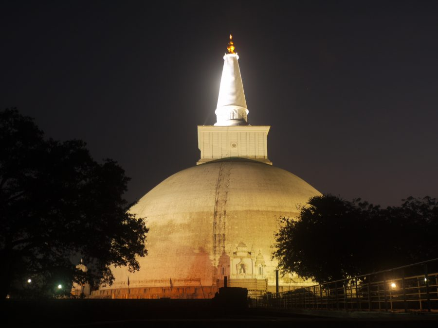 The Ruvanvelisaya Dagoba lit up at night, Annuradhapura, Sri Lanka