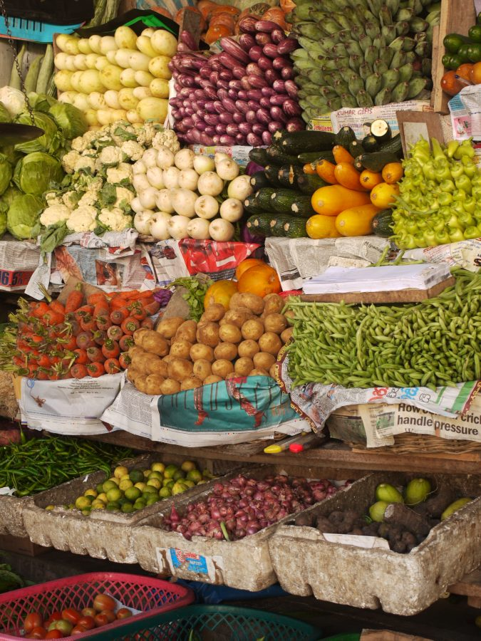 Perfectly arranged fruit and vegetables at the local markets in Kandy, Sri Lanka