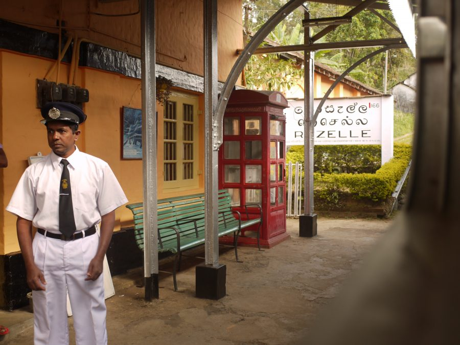 Conductor sees the train off, Sri Lanka