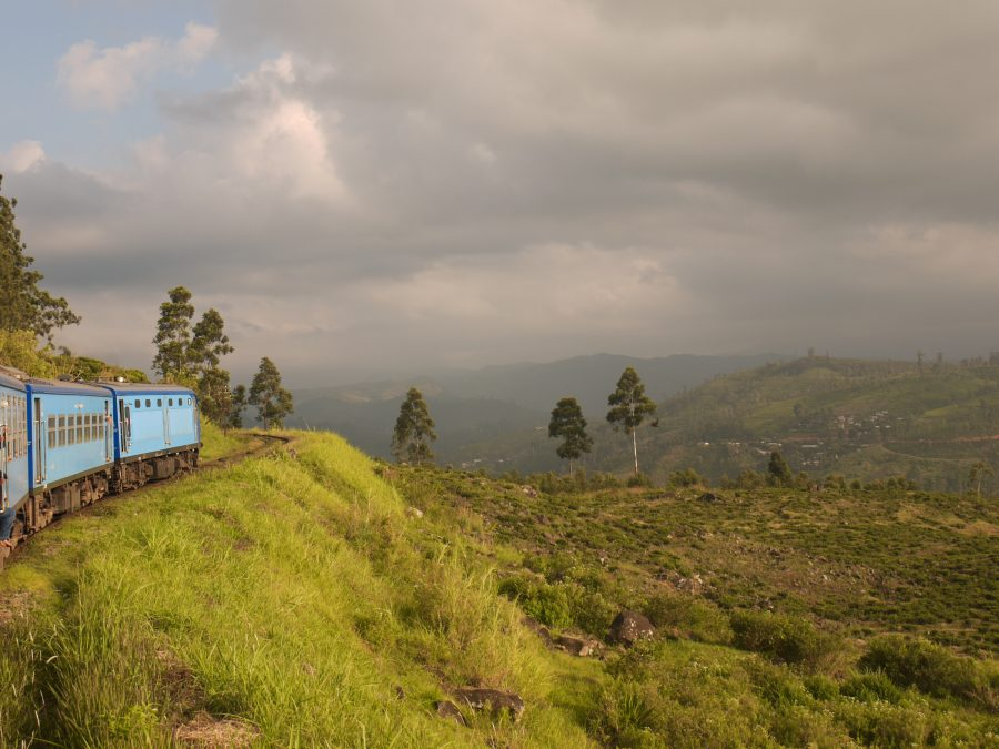 The train rolls on as the sky gets moody, Sri Lanka