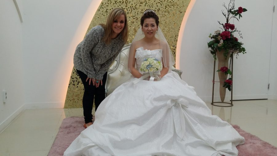 Noelle with the bride at Korean Wedding