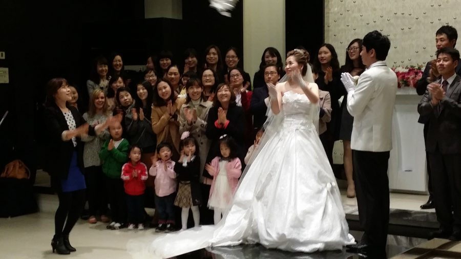 Bride Throwing The Bouquet, Korea