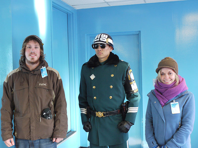 Brian and Noelle at Panmunjom inside the DMZ on the North/South Korea border.