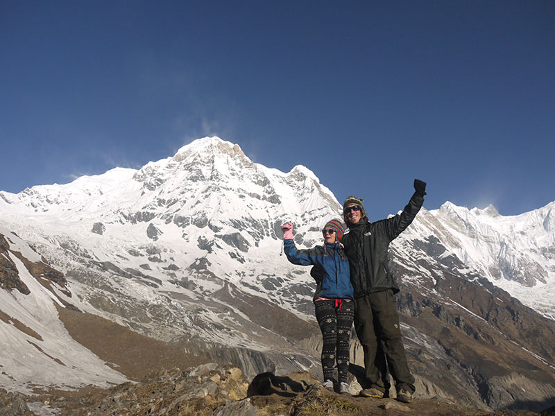Brian and Noelle at the Annapurna Base Camp, Nepal, in time for sunrise.