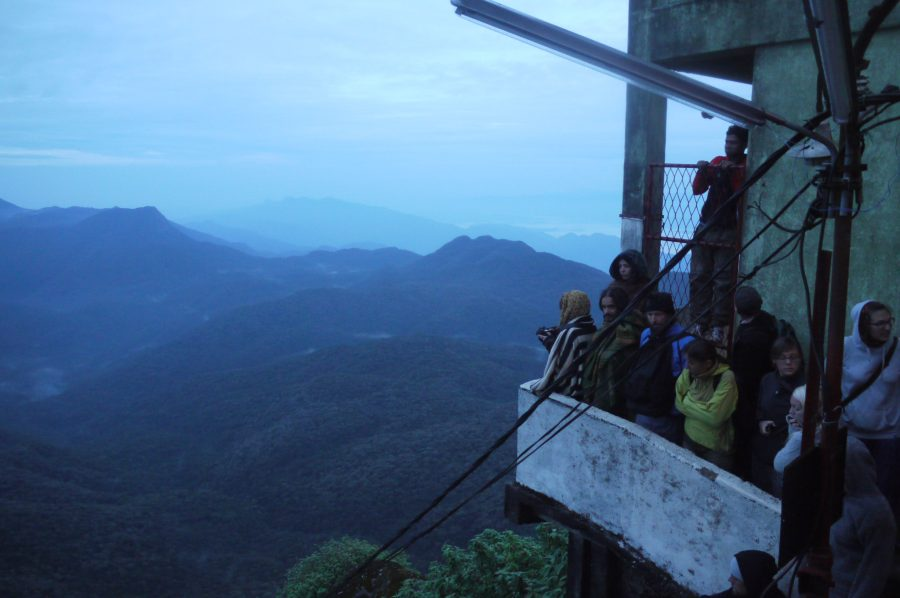 Crowd waiting for sunrise at the top of Sri Pada, Sri Lanka