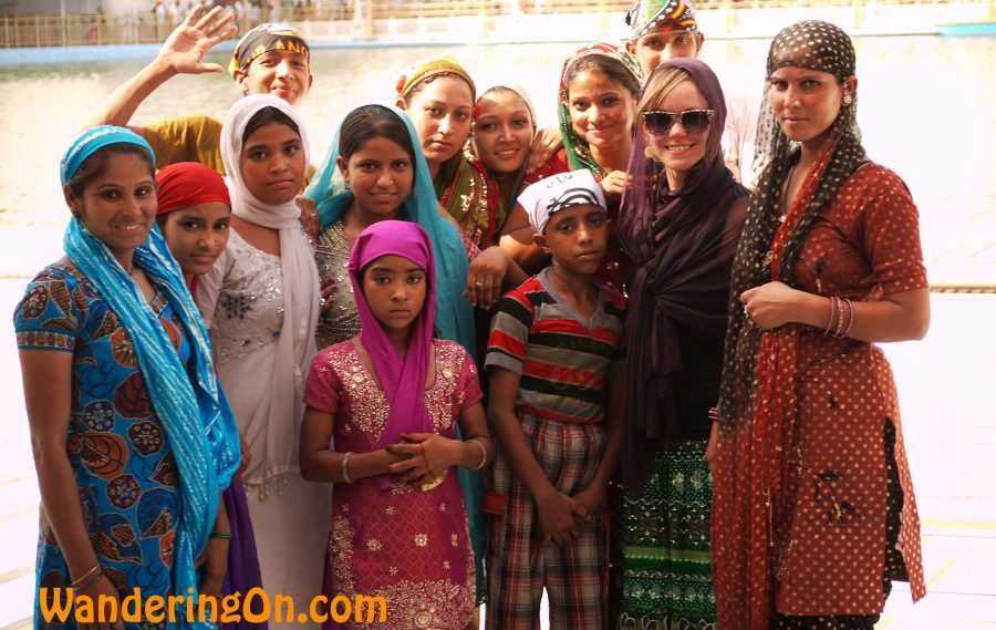Noelle with locals inside the Golden Temple, Amritsar, India