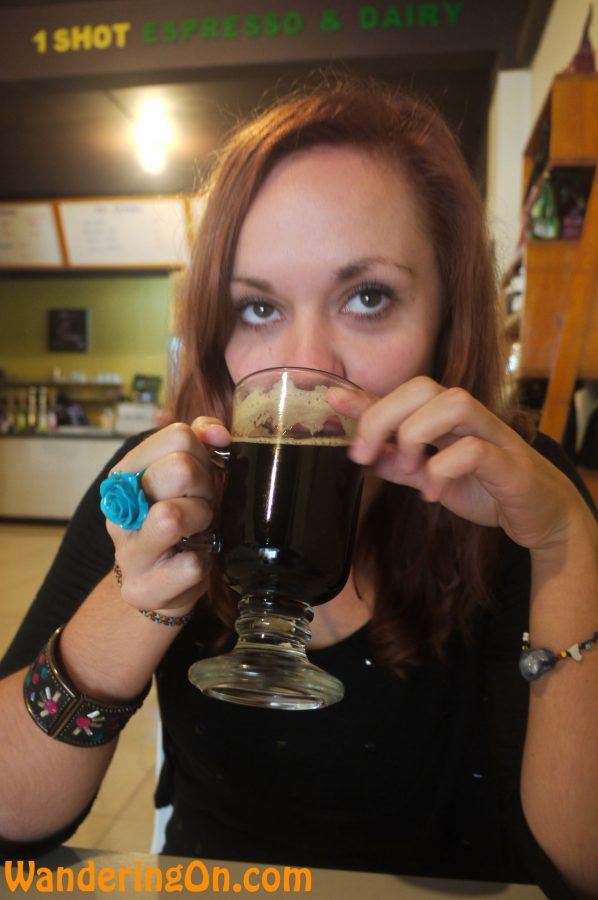Noelle sampling the famous Kopi Luwak in Bukittinggi, Sumatra, Indonesia