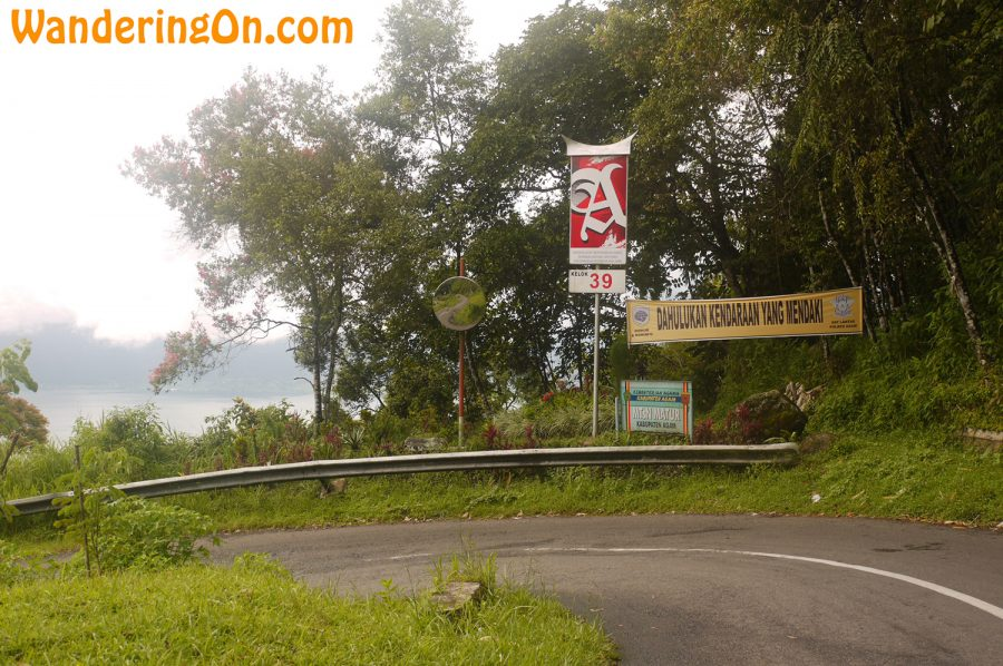 One of the numbered hairpin turns on the way to Lake Mininjau, Sumatra, Indonesia
