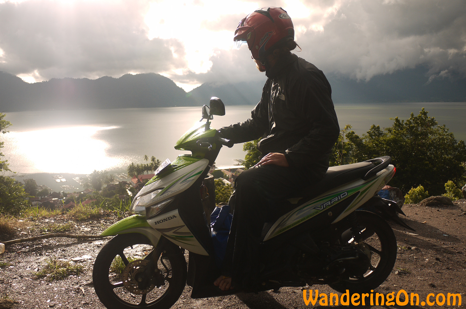 Brian admiring the view as the weather clears up in time for the drive home, West Sumatra, Indonesia