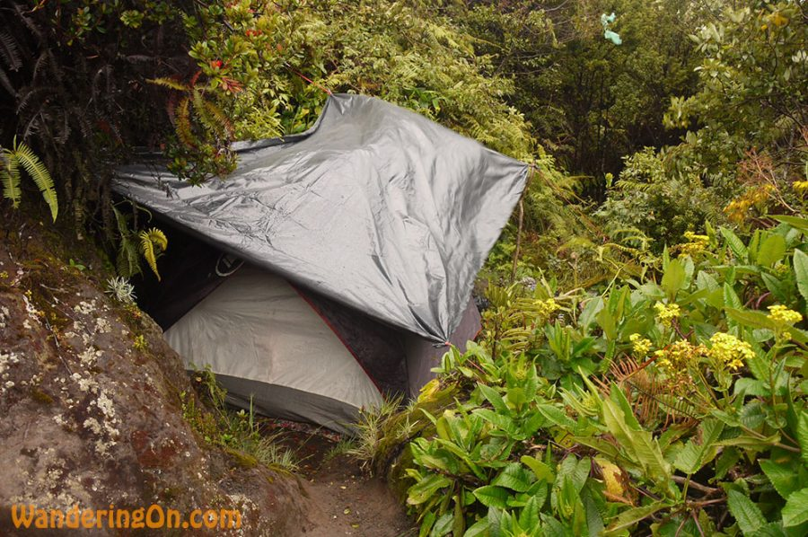 Our shelter for the night at camp three on the side of Mount Kerinci, Indonesias highest volcano