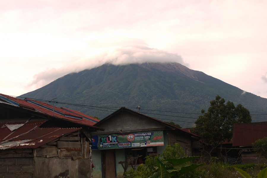 Mount Kerinci, Sumatra with the clouds hovering around the summit