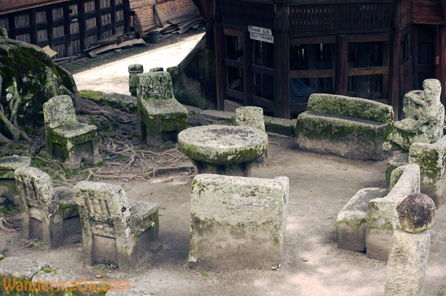 300 year old stone chairs where the Batak elders used to dicuss important matters and decide wrong-doers fate