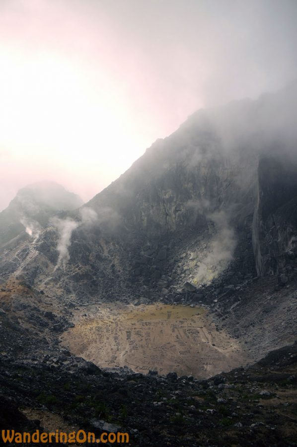 Looking back down on the dormant crater of Gunung Sibayak, Indonesia from our lunch spot