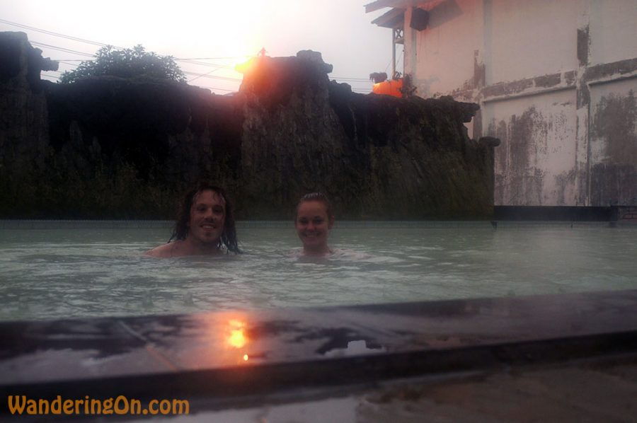 Brian and Noelle in the hot springs after a long hike in the rain