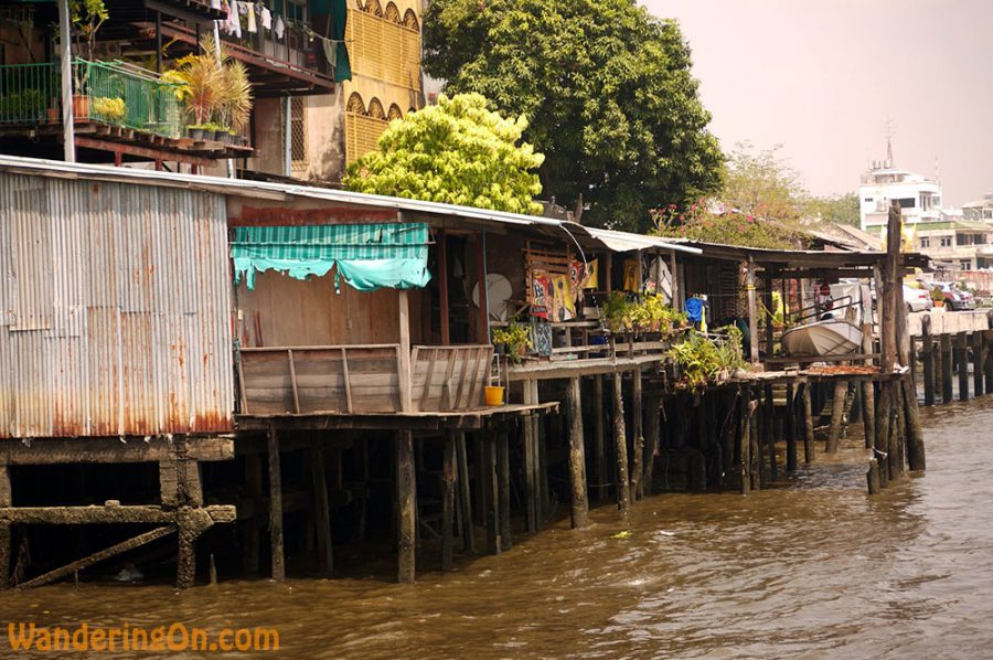 Homes lining the Chao Phraya River in Bangkok