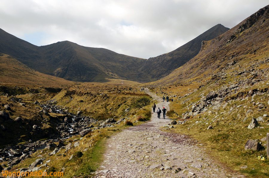 Walking through the Hag's Glen at the ebginning of the Carrauntoohil climb