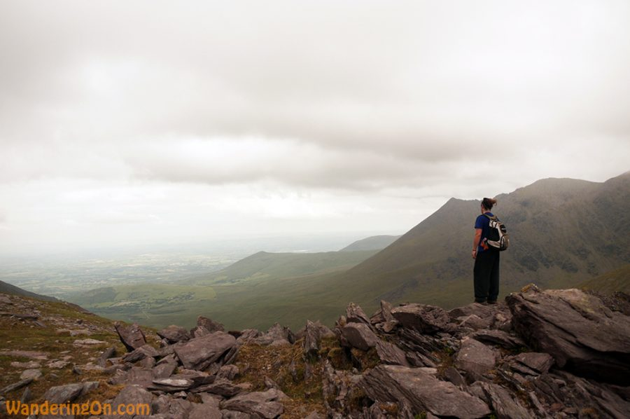 Brian looking back towards Killarney on the hike to Carrauntoohil