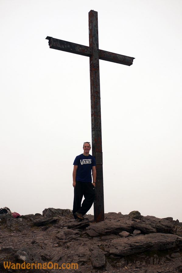 Brian at the giant cross at the top of Carrauntoohil mountain, Co. Kerry