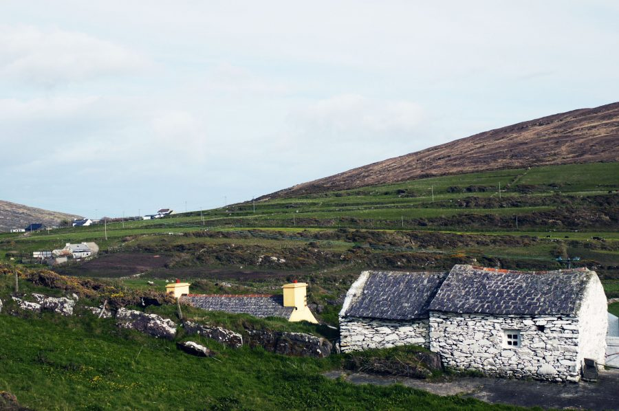 Stone whitewash buildings breaking up the green countryside on Mizen Head, West Cork