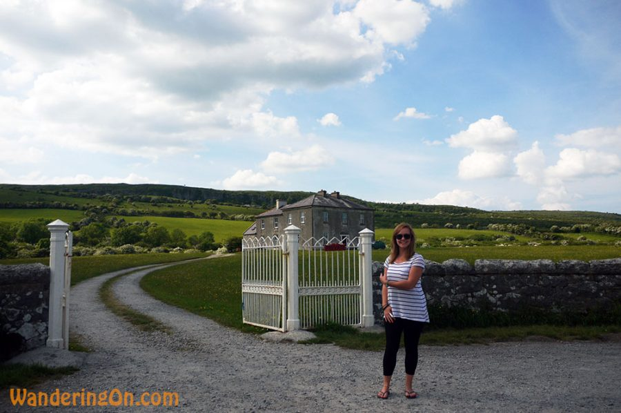 Noelle outside the Fr. Ted parochial house, Co. Clare, Ireland
