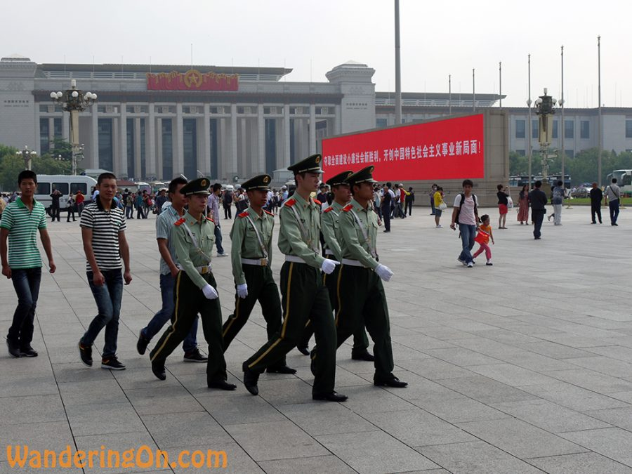 Soldiers marching through Tiananmen Square, Beijing