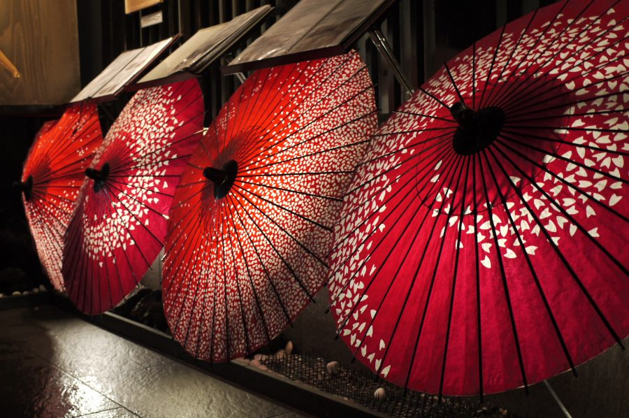 Traditional Japanese parasols in Kyoto's old red light district