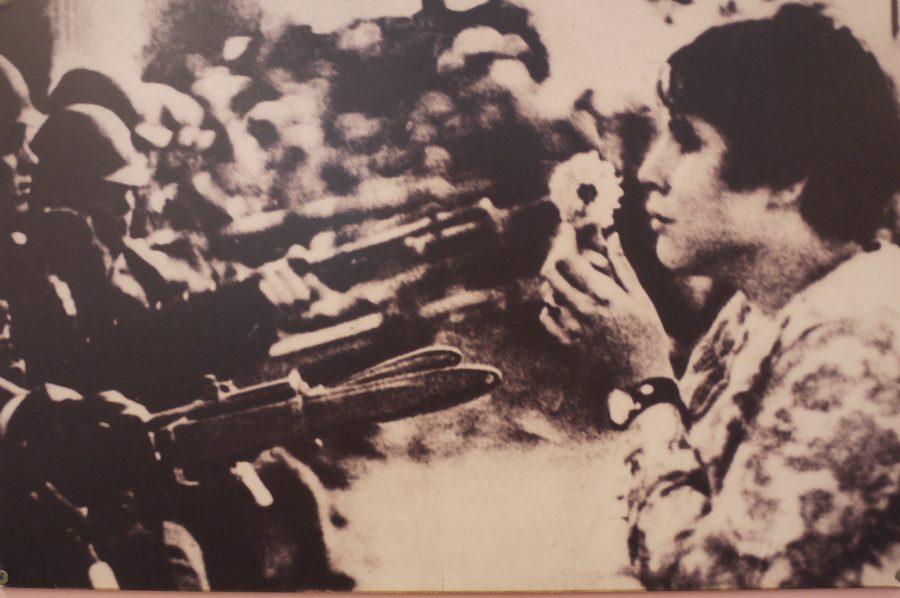 Iconic photo of a protestor putting a flower into the barrel of a soldiers gun during demonstrations against the Vietnam War. From the War Remnants Museum, Ho Chi Minh City