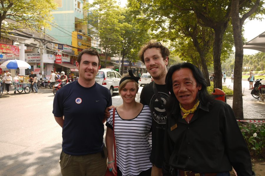 Hanging out with our Chu Chi Tunnels guide and Vietnam Vet, Jackie