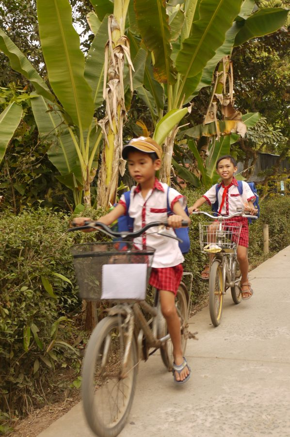 On the way home from school, An Binh Island
