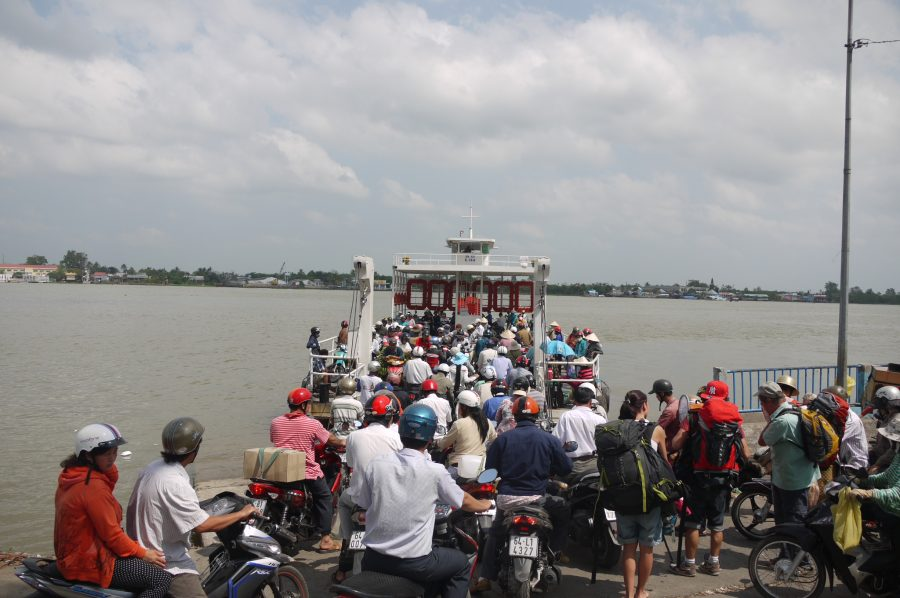 Ferry to An Binh Island jam packed with bikes