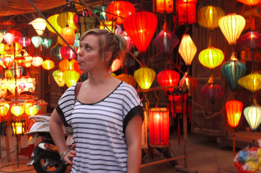 Noelle with traditional lanterns in Hoi An