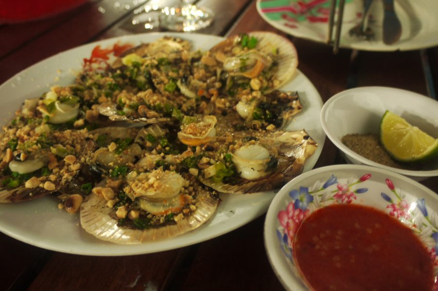 Fresh scallops at the night market in Phu Quoc, Vietnam