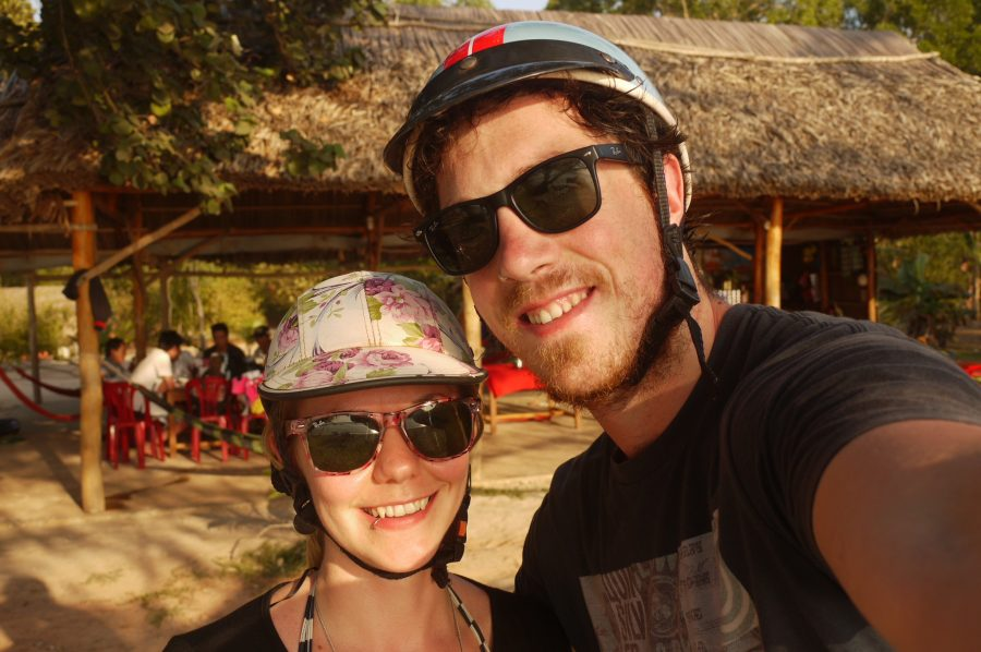 Our trendy bike helmets for our scooter trip around Phuc Quoc