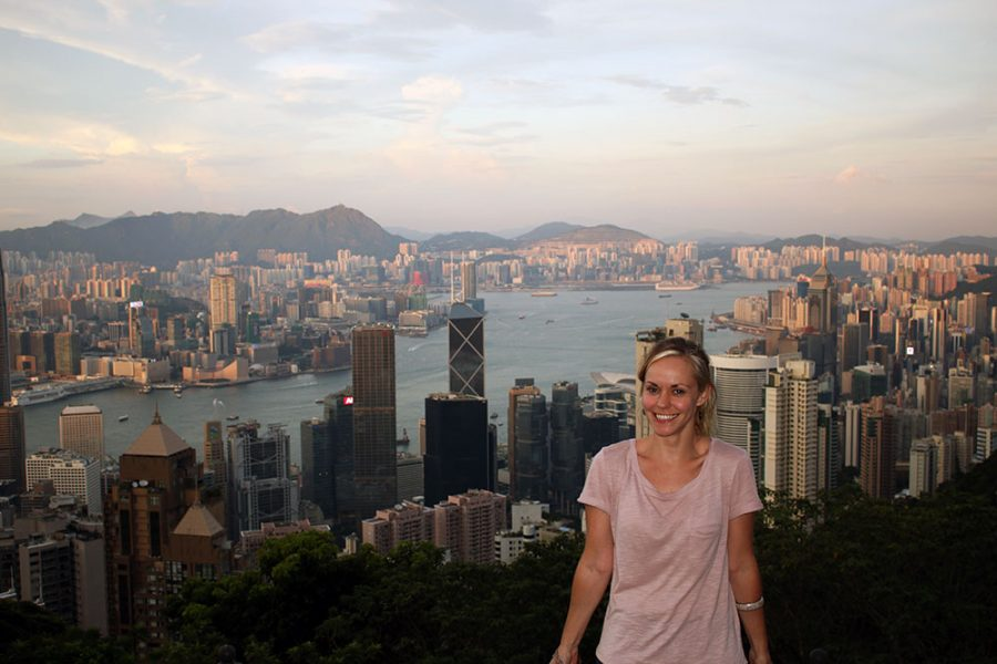Year of Travel 2014 - Noelle with the Hong Kong skyline in the background