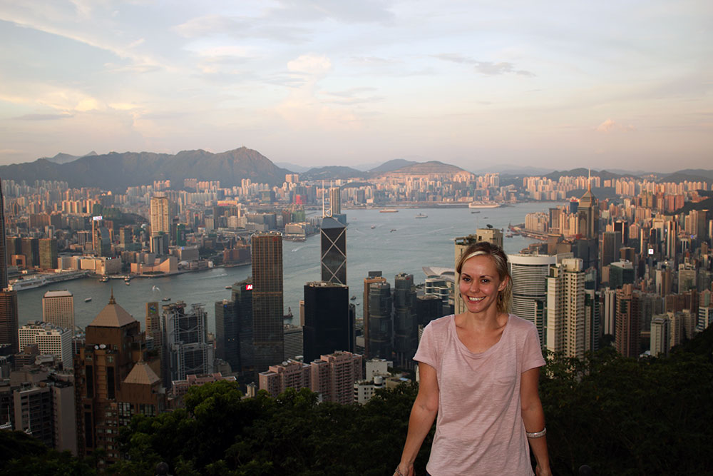 Noelle with the Hong Kong skyline in the background