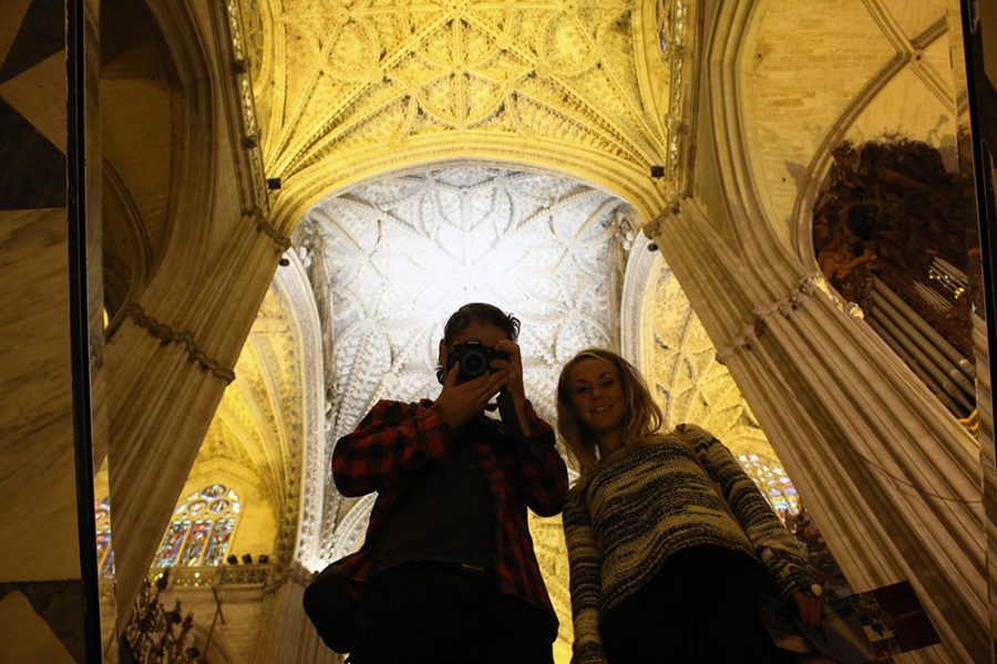 Selfies inside the cathedral in Seville, Spain