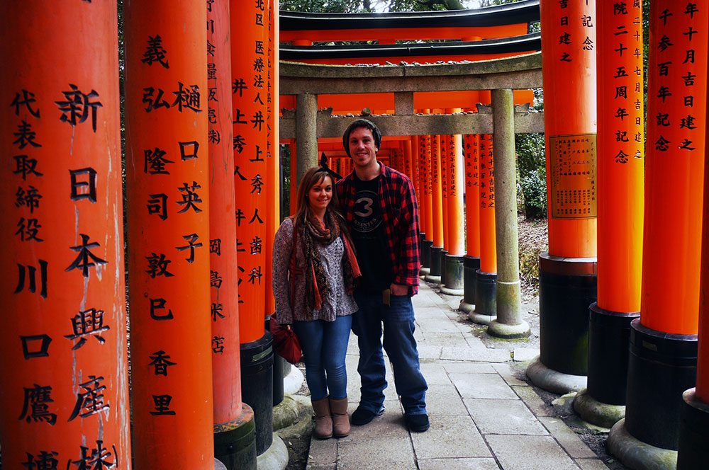 Wandering through the tori (gates) at Fushimi Inari. Kyoto, Japan