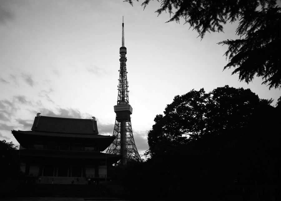 Tokyo Tower from inside the grounds of the Zojo-ji Temple