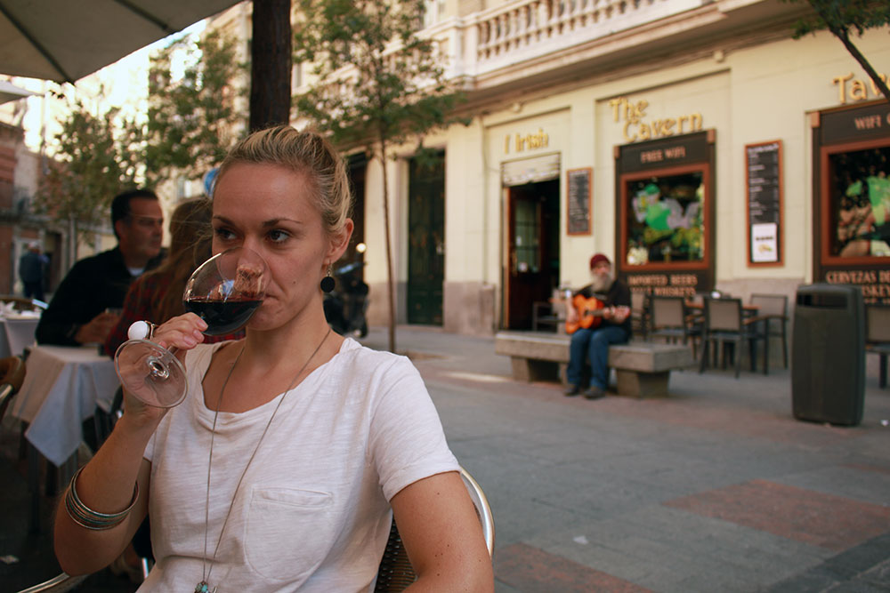 Noelle Enjoying The Spanish Wine During our 5 days in Madrid