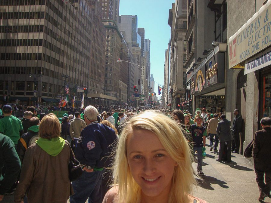 Elaine celebrating St. Paddy's Day in New York