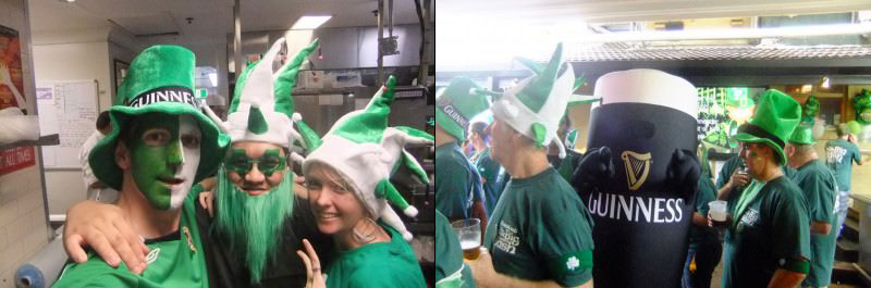 Jonny celebrating St. Patrick's Day in Australia with friends and at work dressed as a pint of Guinness!