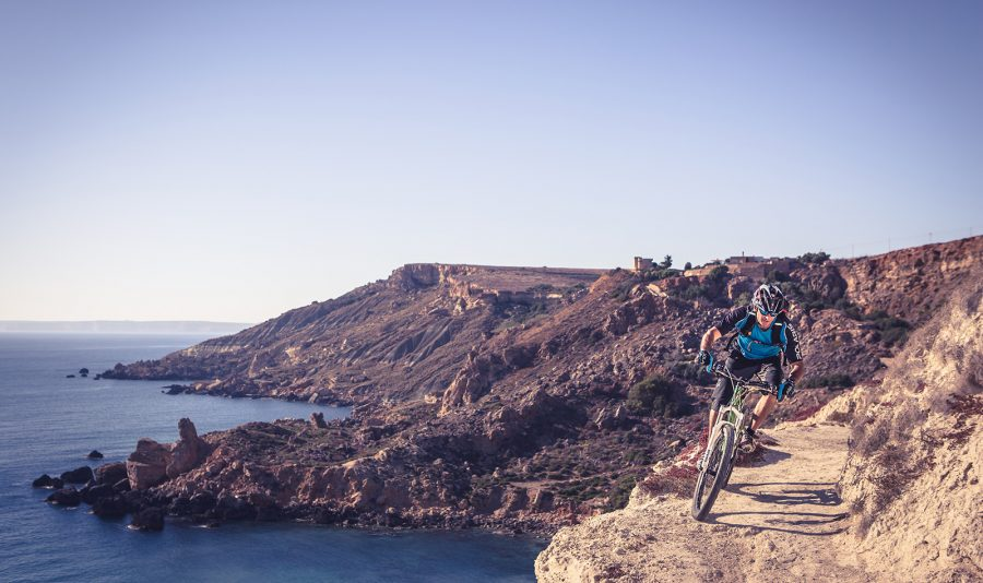Mountain Biking on the cliffs at Gozo, Malta