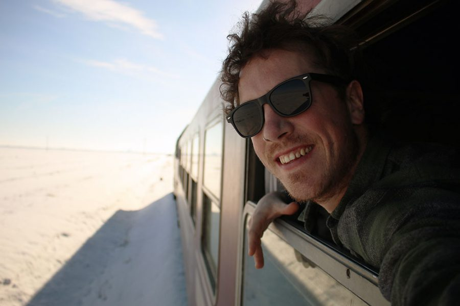 Brian on the train from Romania to Bulgaria