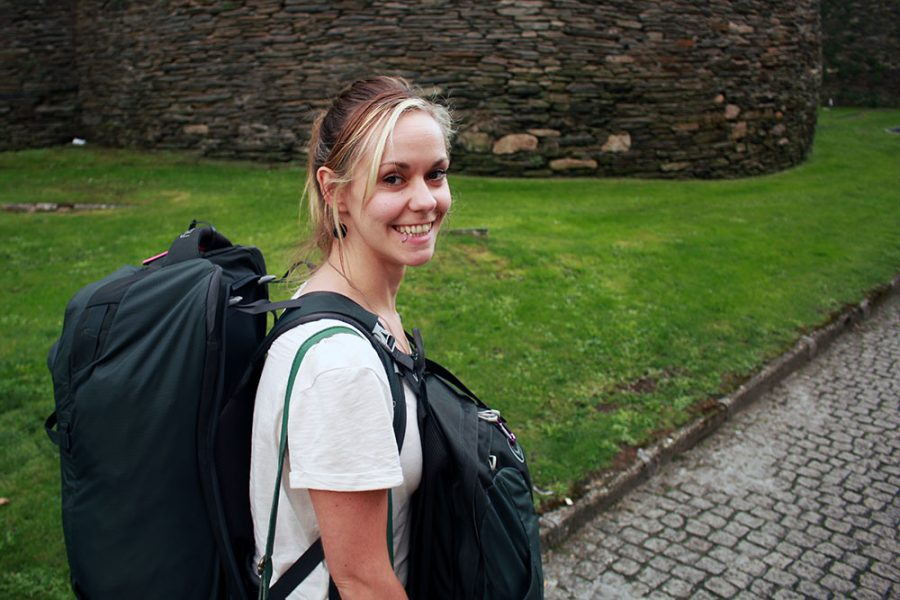 Noelle with her backpack in Lugo, Spain