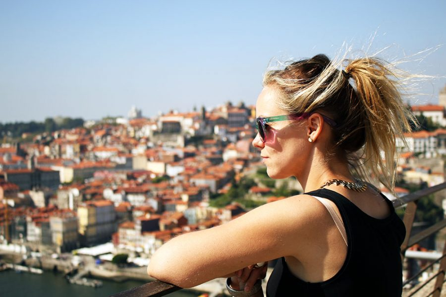 Noelle day dreaming in Porto, Portugal