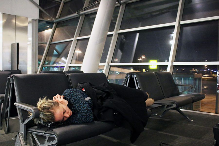 Noelle getting some shuteye at Sofia Airport