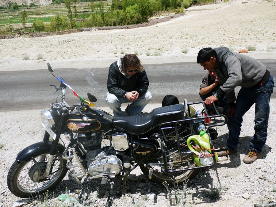 Our motorbike got a puncture in the middle of nowhere in Northern India