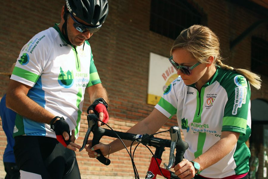 Noelle learning the ropes before we set off on our cycle from the Pyrenees to the Costa Brava